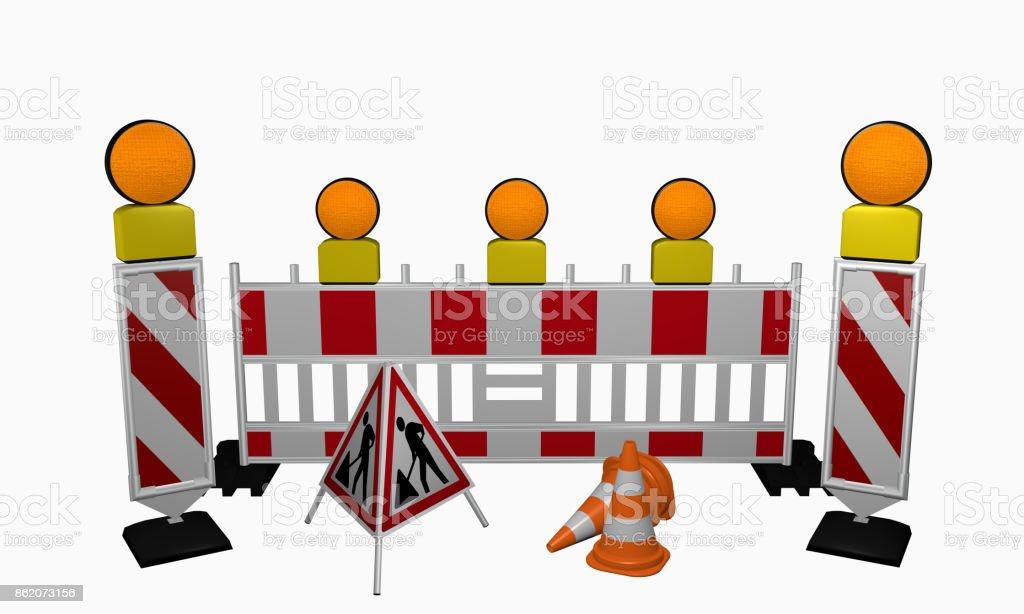 Leitbaken mit Sicherheitsabsperrung, Warnlicht, Leitkegel und Aufsteller für eine Baustelle stock photo