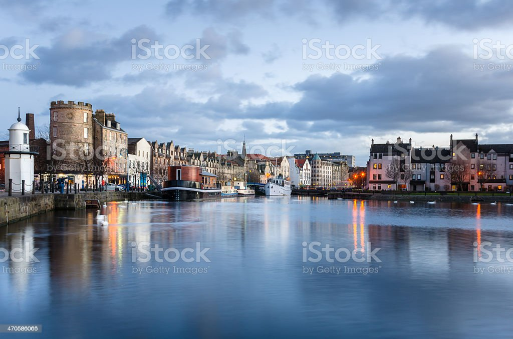 Leith Harbour at Sunset and Reflection in Water stock photo