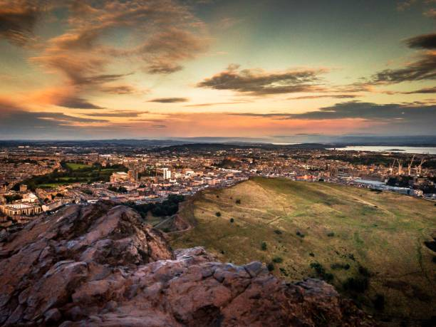 Leith views from Arthurs seat at sunrise, Edinburgh Scotland stock photo