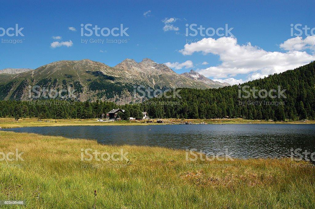 Lej Marsch - Swiss Alpine Lake stock photo