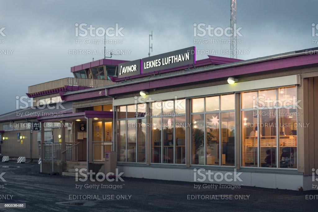 Leknes airport in Lofoten Islands, Norway stock photo