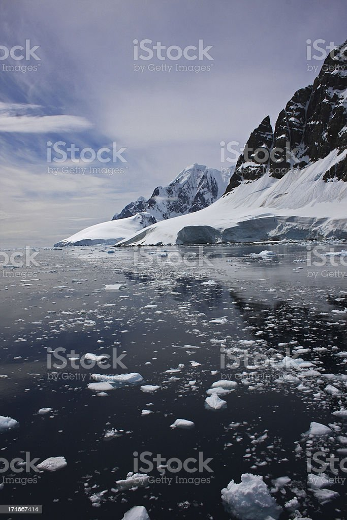 Lemaire Channel Antarctica Ocean and Mountain Range royalty-free stock photo