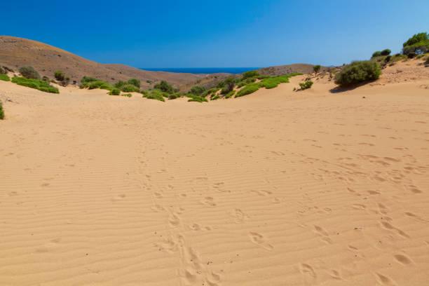 Lemnos desert - sand dunes in Lemnos island, Greece stock photo