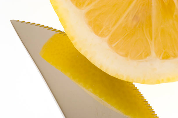Lemon an knife stock photo