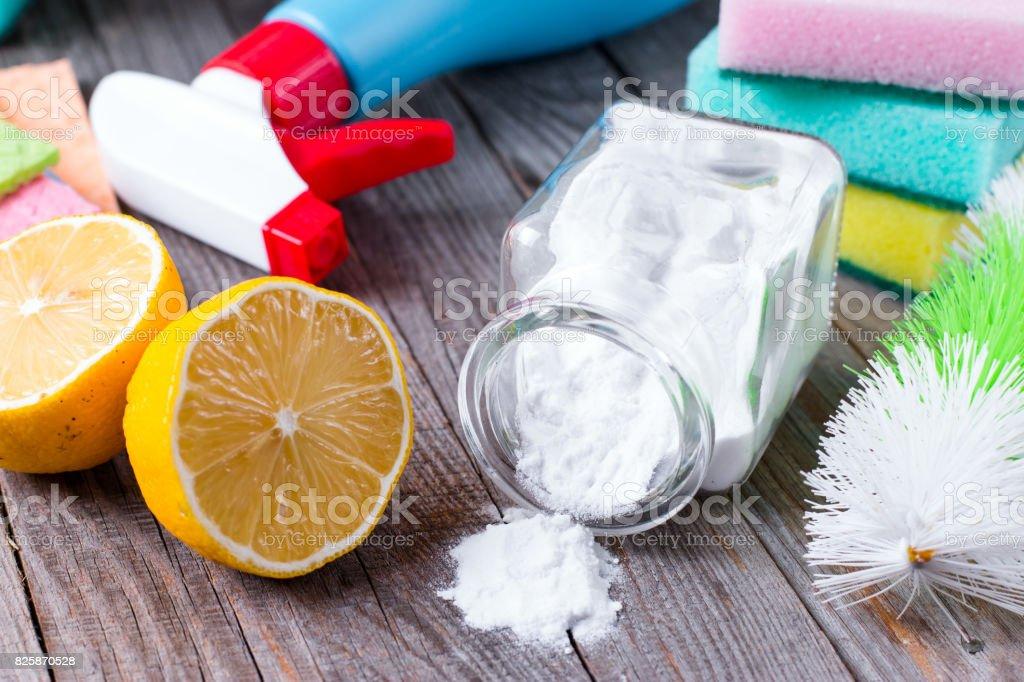 Lemon and baking soda in the household stock photo