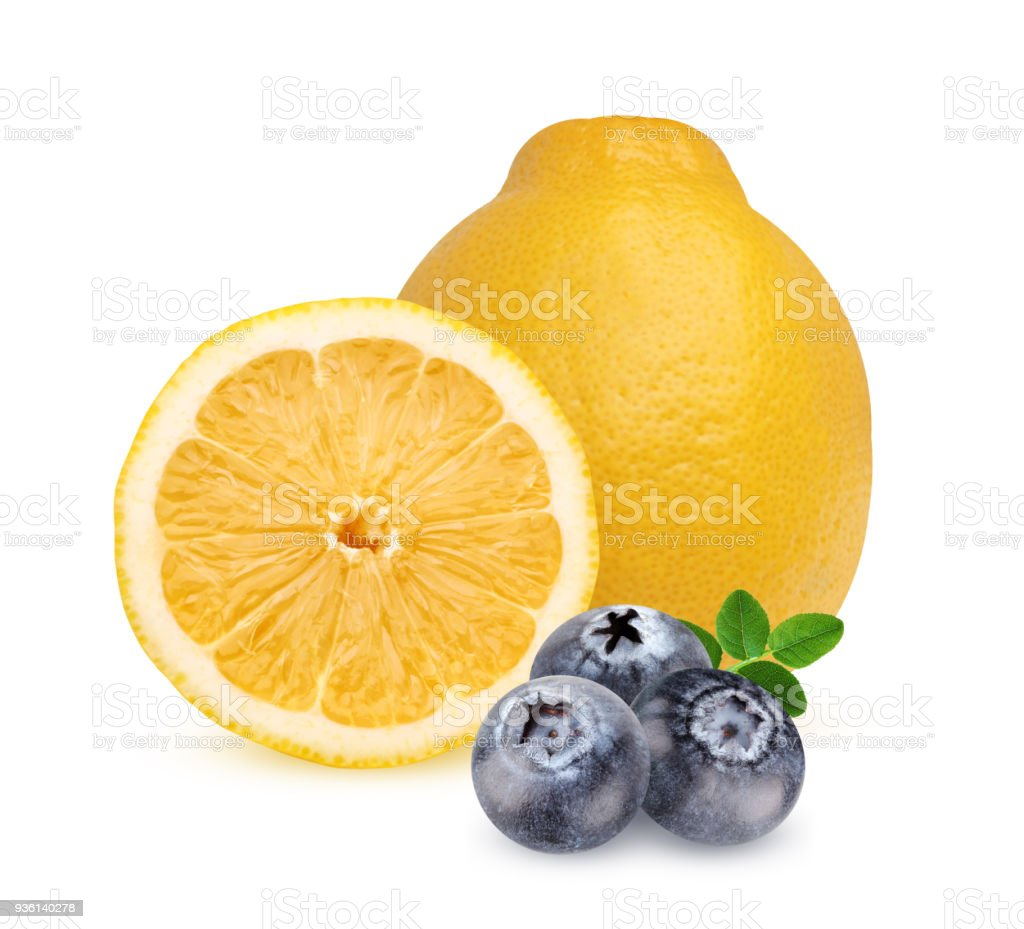 Lemon and blueberries, isolated on a white background. stock photo