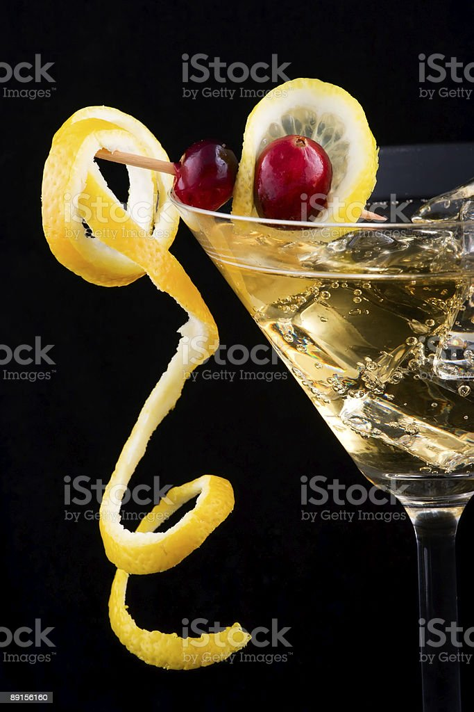 Lemon and cranberry splash cocktail stock photo