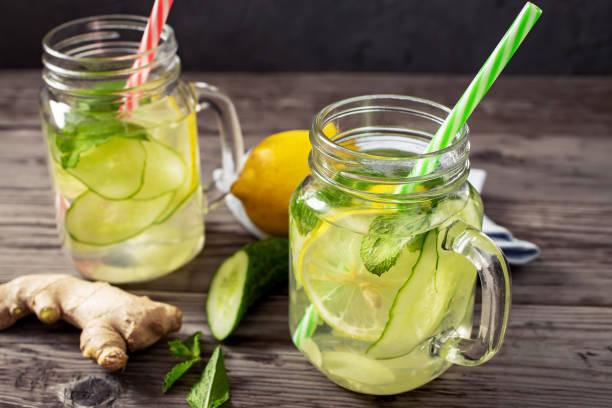 Cтоковое фото Lemon and cucumber drink