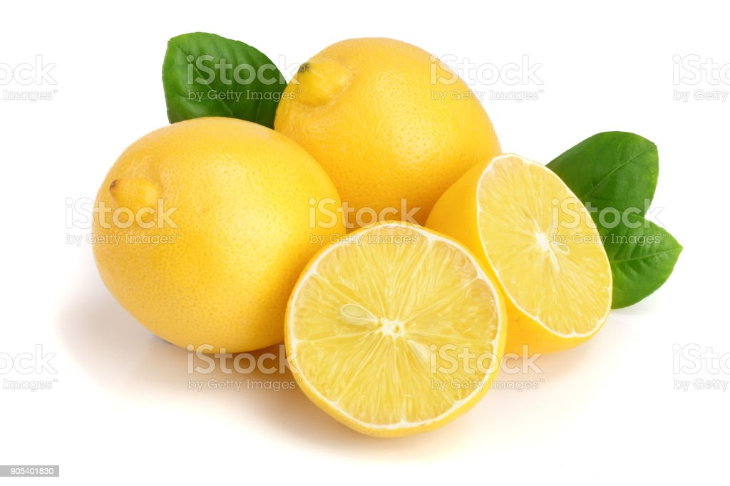 lemon and half with leaf isolated on white background stock photo