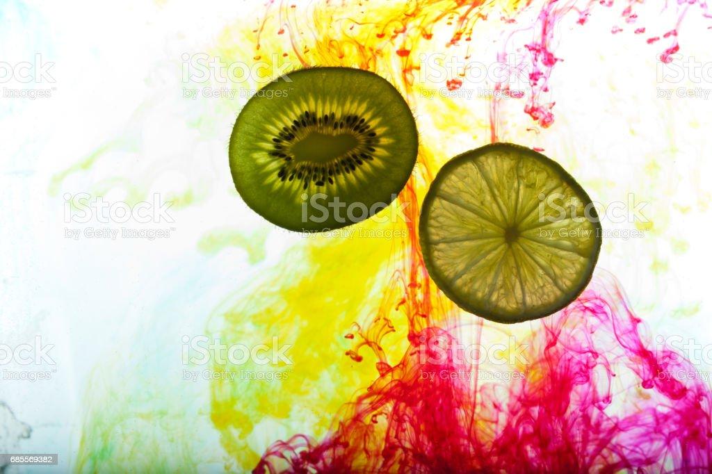 lemon and kiwi fruit isolated on white background 免版稅 stock photo