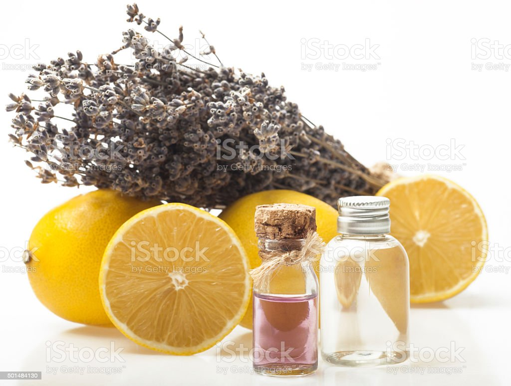 Lemon and lavender essential oil stock photo