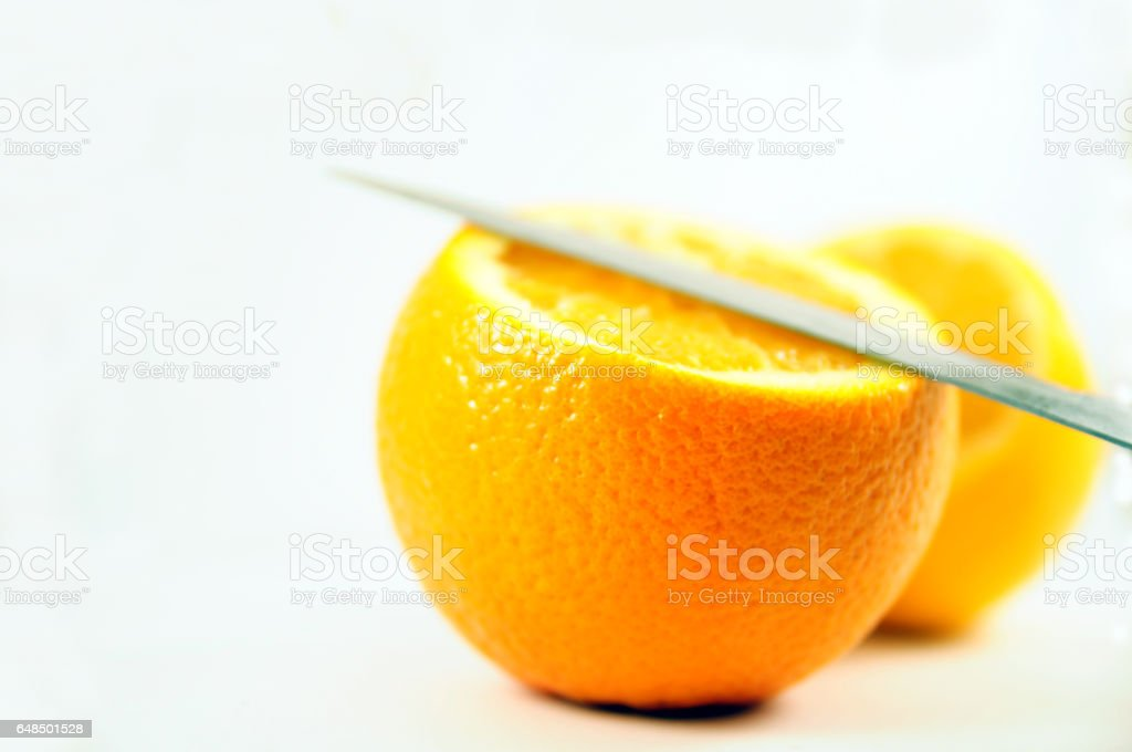 Lemon and orange isolated on white stock photo