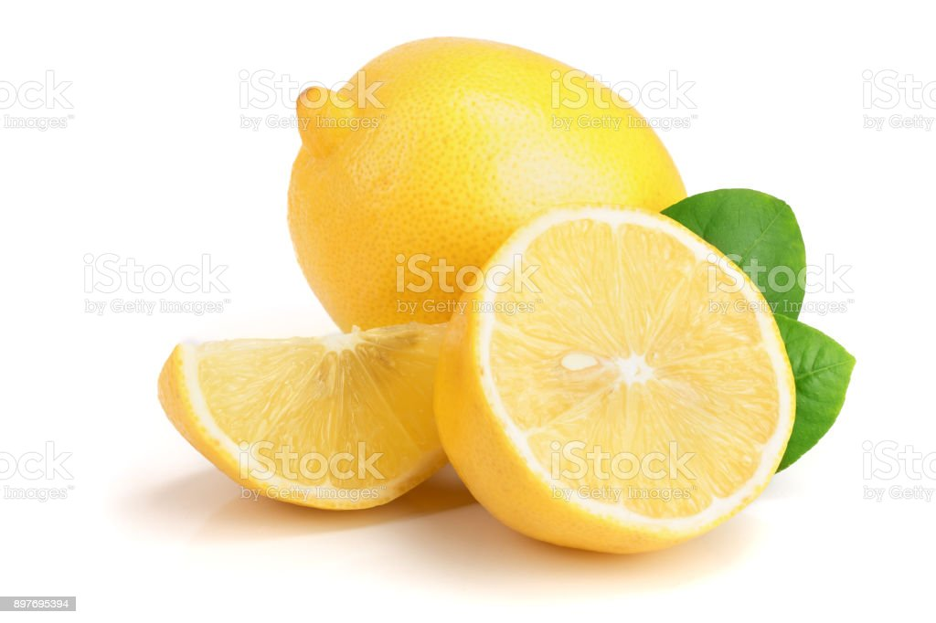 lemon and slice with leaf isolated on white background - Foto stock royalty-free di Agrume