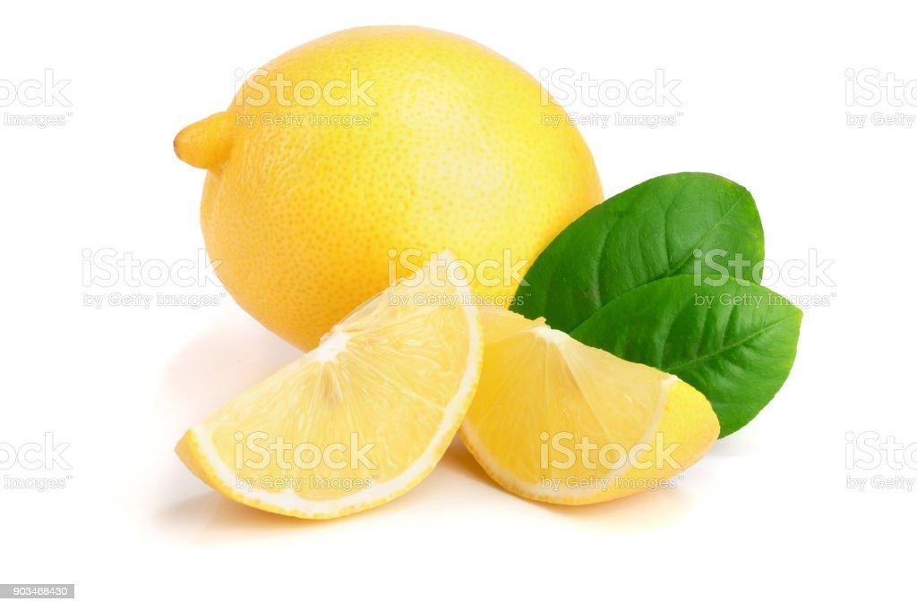 lemon and slice with leaf isolated on white background stock photo
