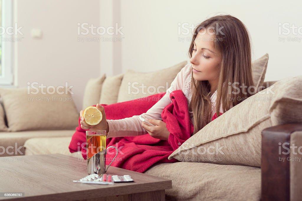Lemon and tea stock photo