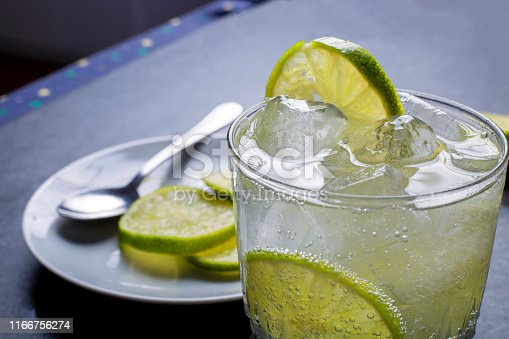 Slices of lemon in a glass of tonic water with ice cubes