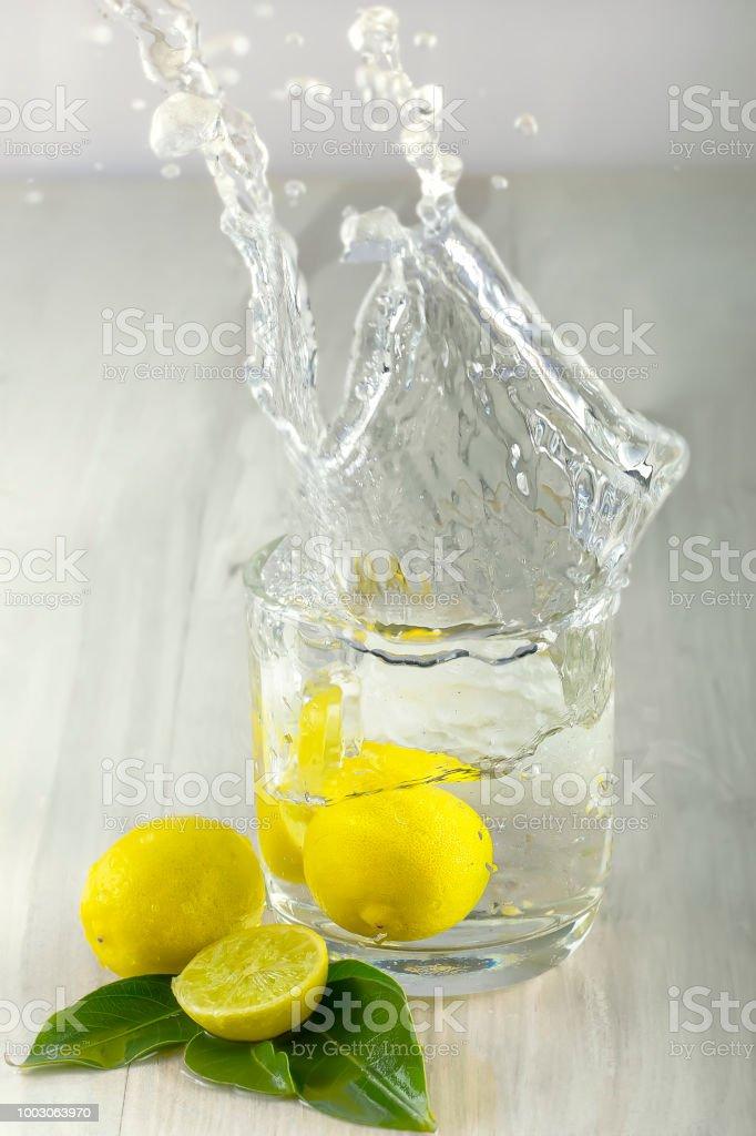 Lemon and Water Splash stock photo