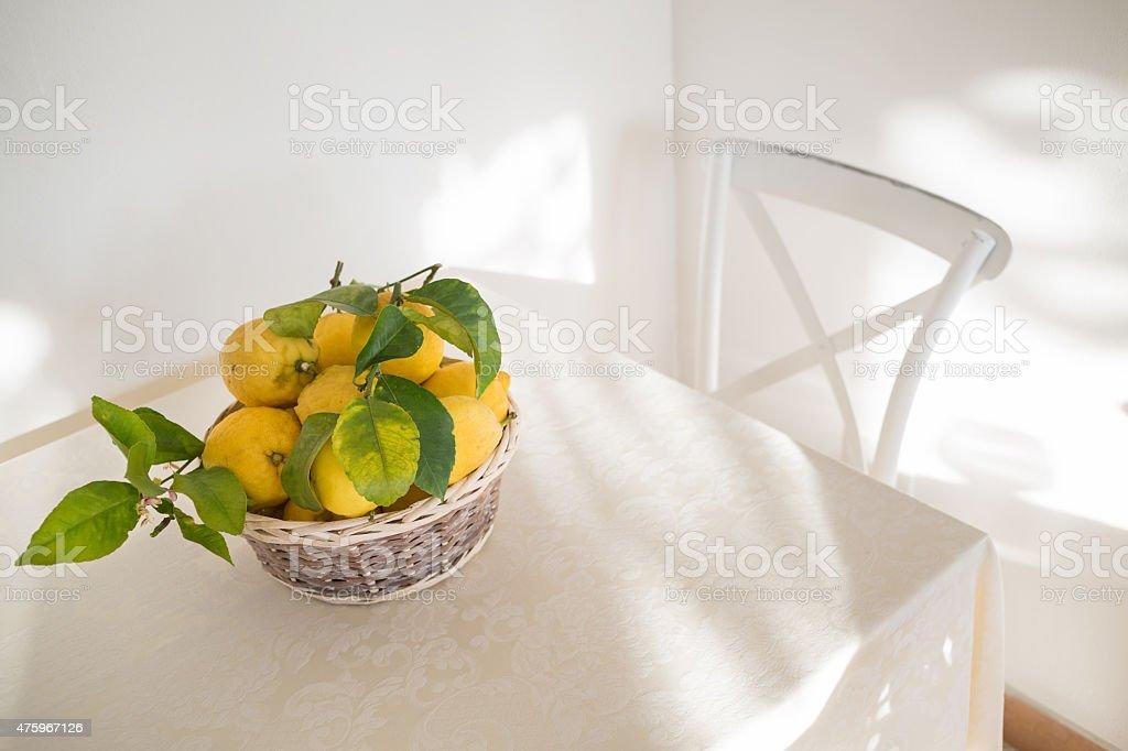 lemon basket stock photo