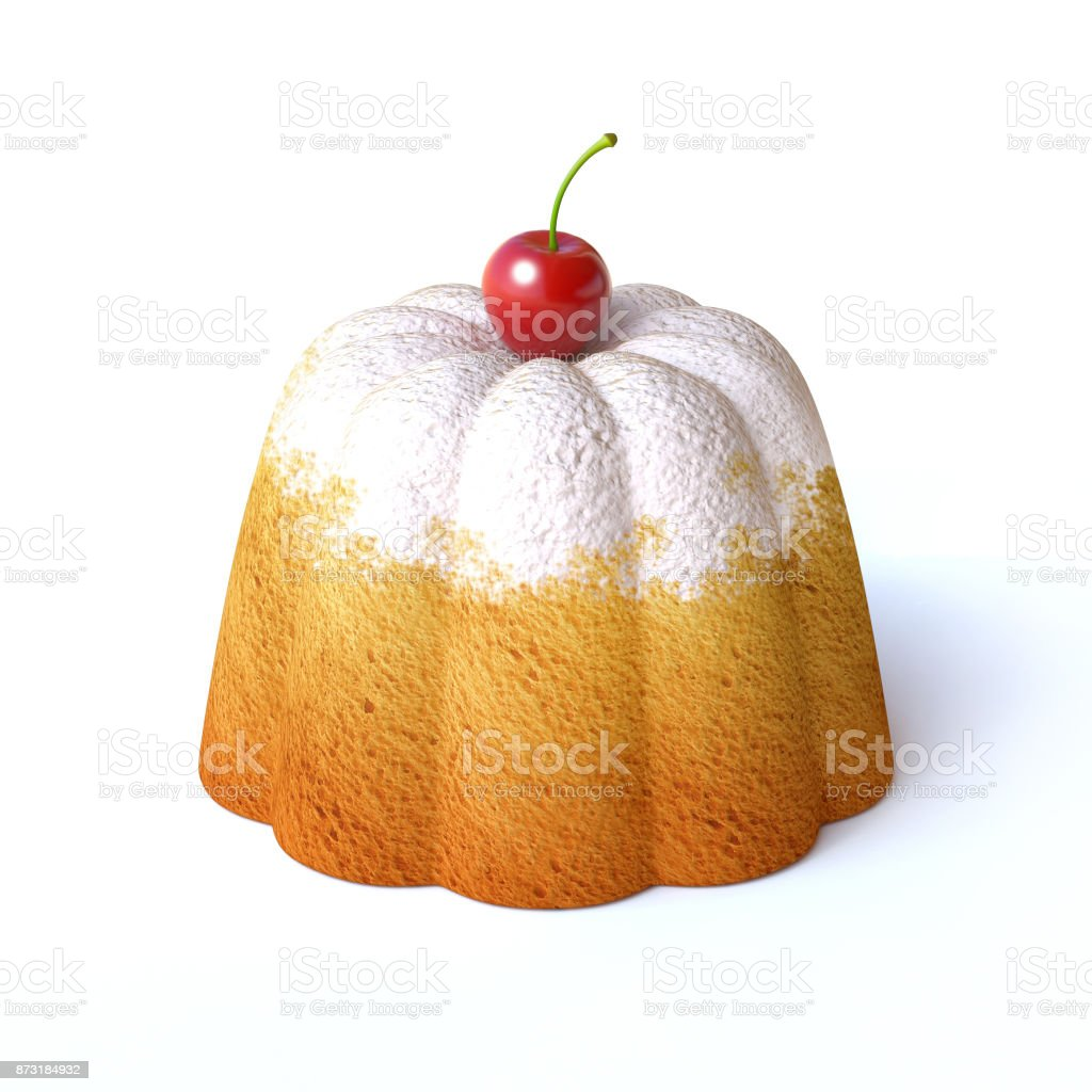 Lemon cake with icing sugar and cherry on top isolated  on a white background 3d rendering stock photo