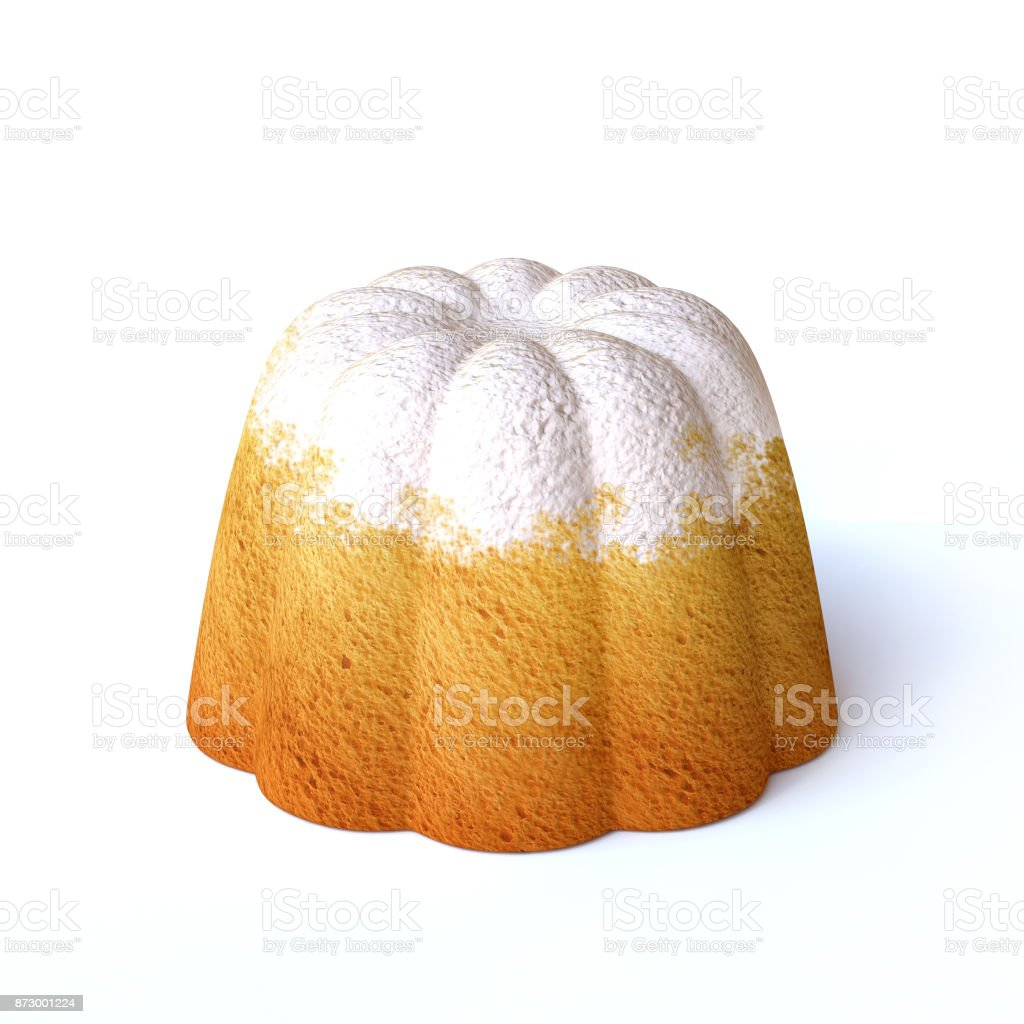 Lemon cake with icing sugar on top isolated  on a white background 3d rendering stock photo
