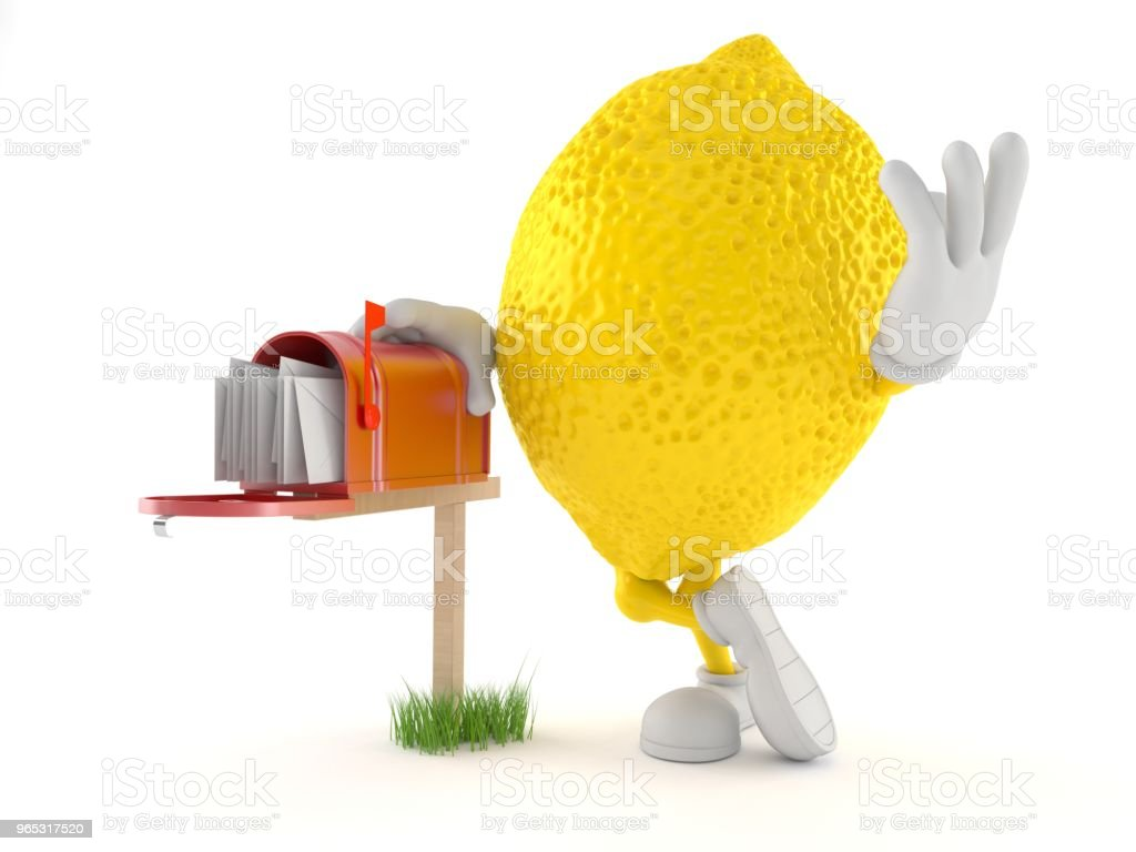 Lemon character with mailbox zbiór zdjęć royalty-free
