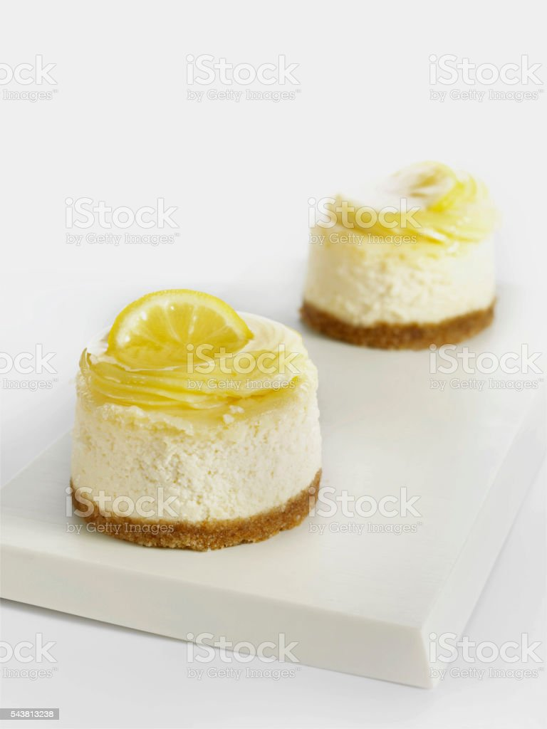 lemon cheesecakes stock photo