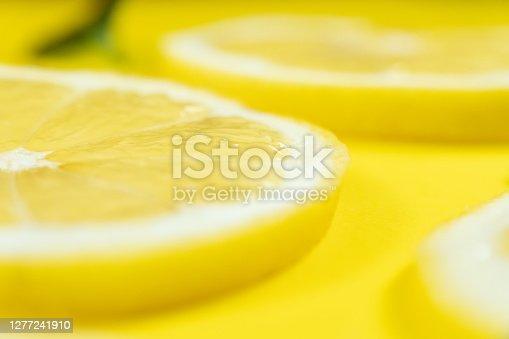 Sliced lemon close up food background
