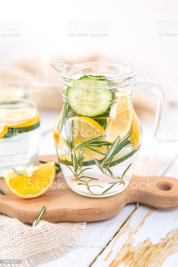 Lemon Cucumber and Rosemary Detox Water stock photo