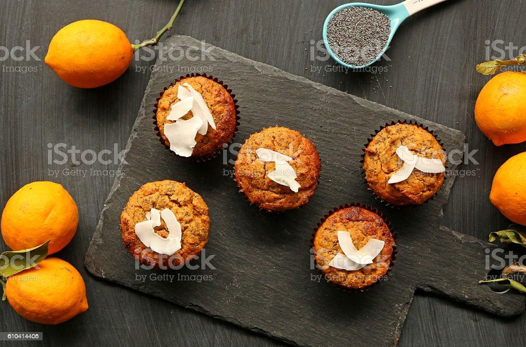 Lemon cupcakes stock photo
