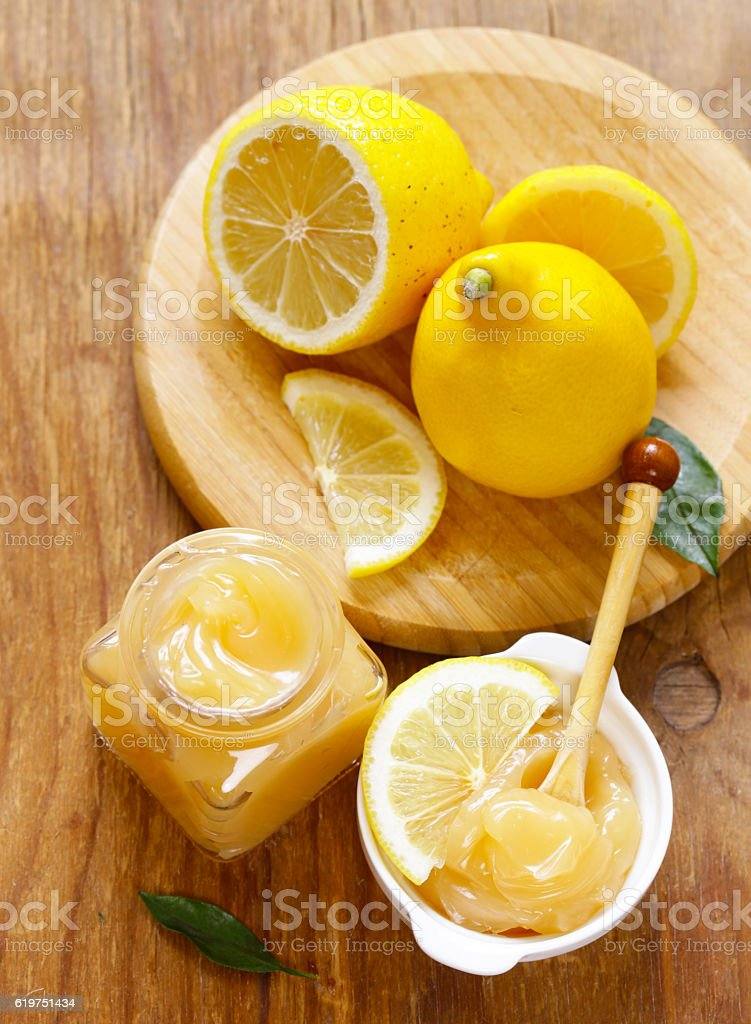 lemon curd cream made from organic lemons stock photo