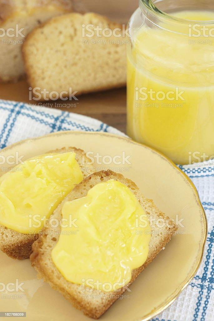 Lemon Curd on Pound Cake stock photo
