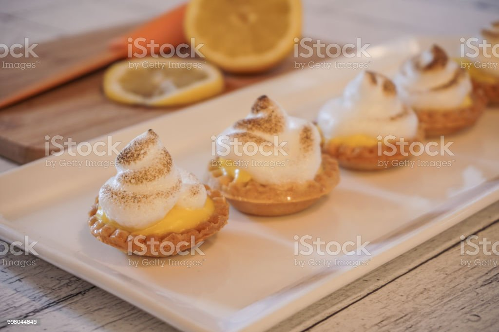 Lemon Curd Tart with Meringue Topping stock photo