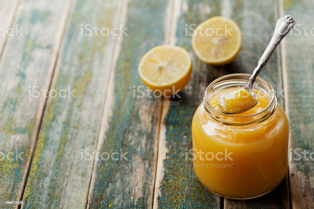 Lemon curd with copy space for text stock photo