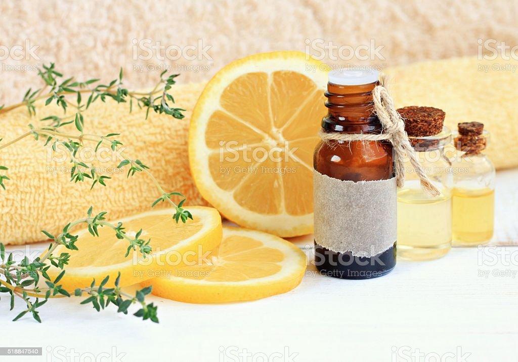 Lemon esssential aroma oil. stock photo