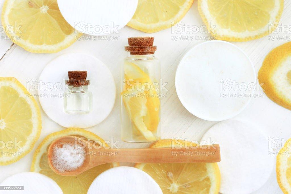 Lemon facial cleansing homemade cosmetic stock photo
