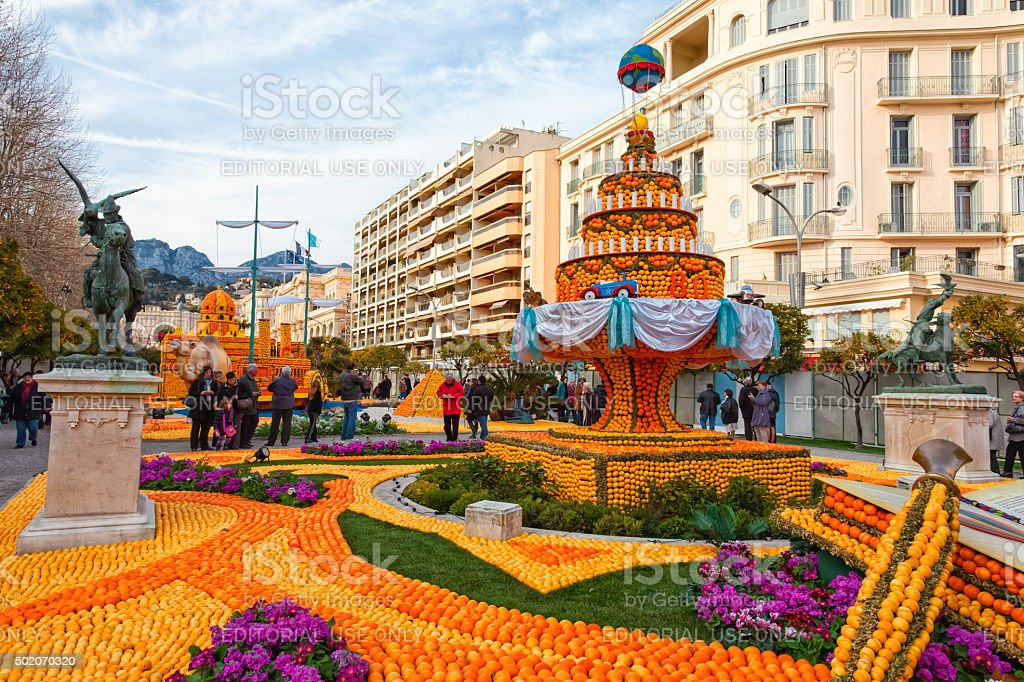 Lemon Festival (Fete du Citron) in Menton on French Riviera stock photo