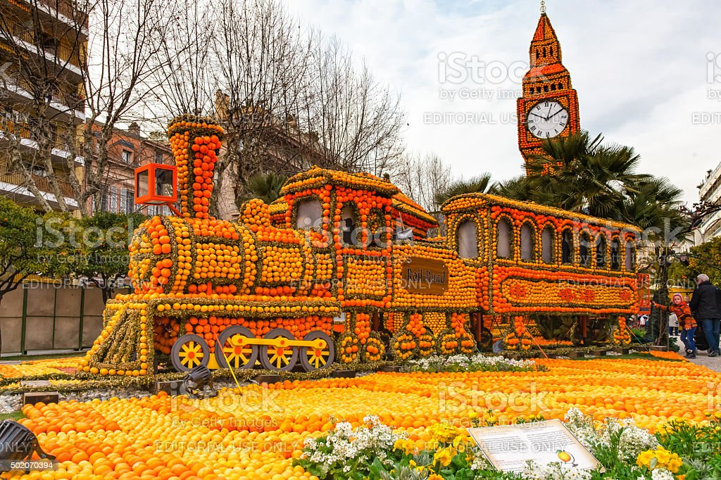 Lemon Festival (Fete du Citron) in Menton on French Riviera. stock photo