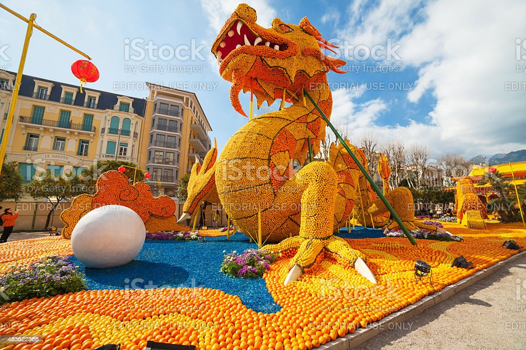 Lemon Festival, Menton. France. stock photo