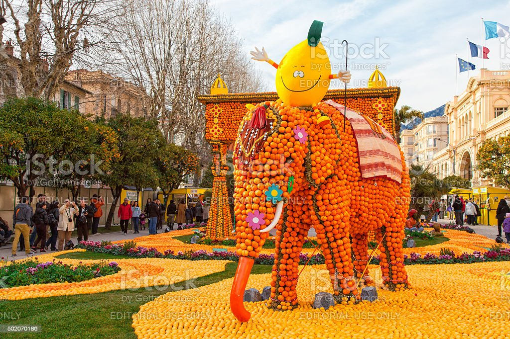 Lemon Festival (Fete du Citron) on the French Riviera. stock photo