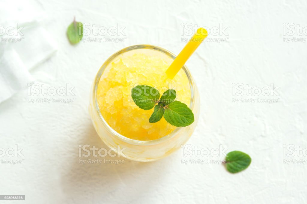 Lemon Frozen Granita Slush stock photo