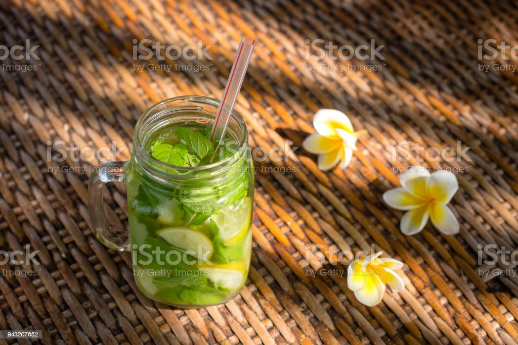 Lemon fruit Caipirinha alcoholic beverage of Brazil on wooden table stock photo
