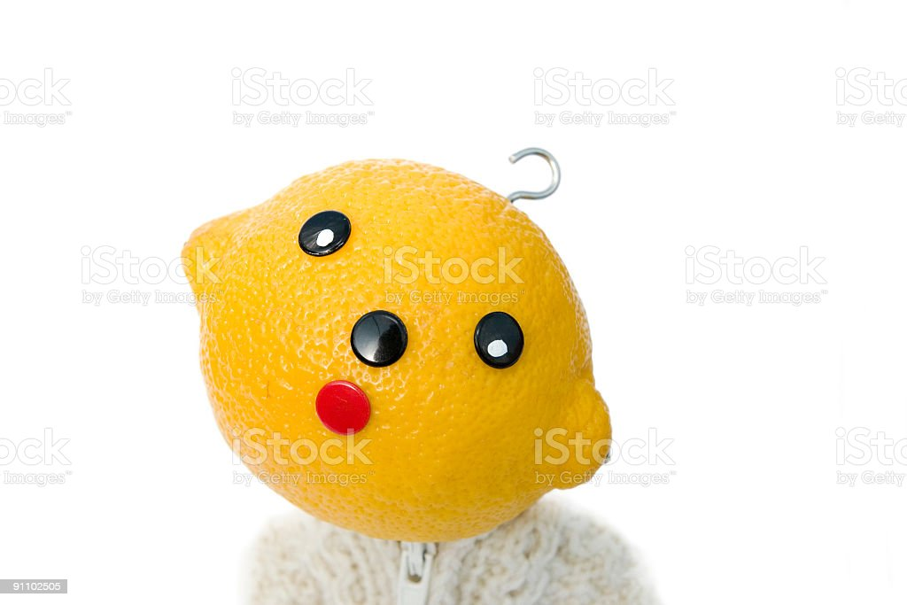 lemon fruit character looking confused concept stock photo