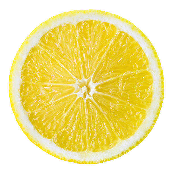 Lemon fruit slice. Circle isolated on white. stock photo