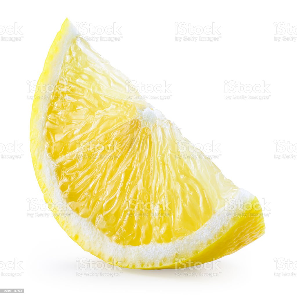 Lemon fruit. Slice isolated on white. With clipping path stock photo