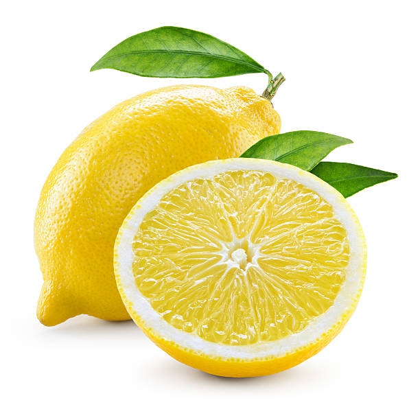 Lemon. Fruit with half and leaves isolated on white stock photo