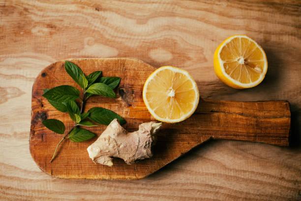 lemon, ginger, mint - liść mięty przyprawa zdjęcia i obrazy z banku zdjęć