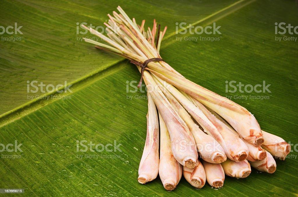 Lemon grass on banana leaf stock photo