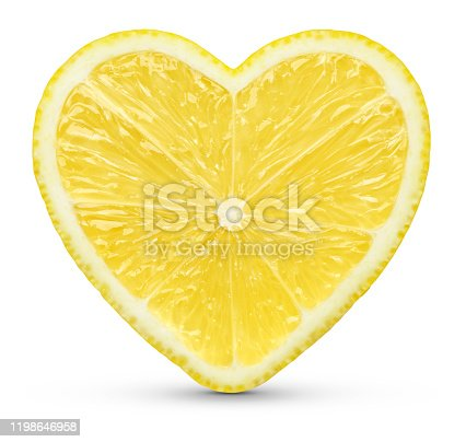Lemon heart concept on white. This file is cleaned and retouched.