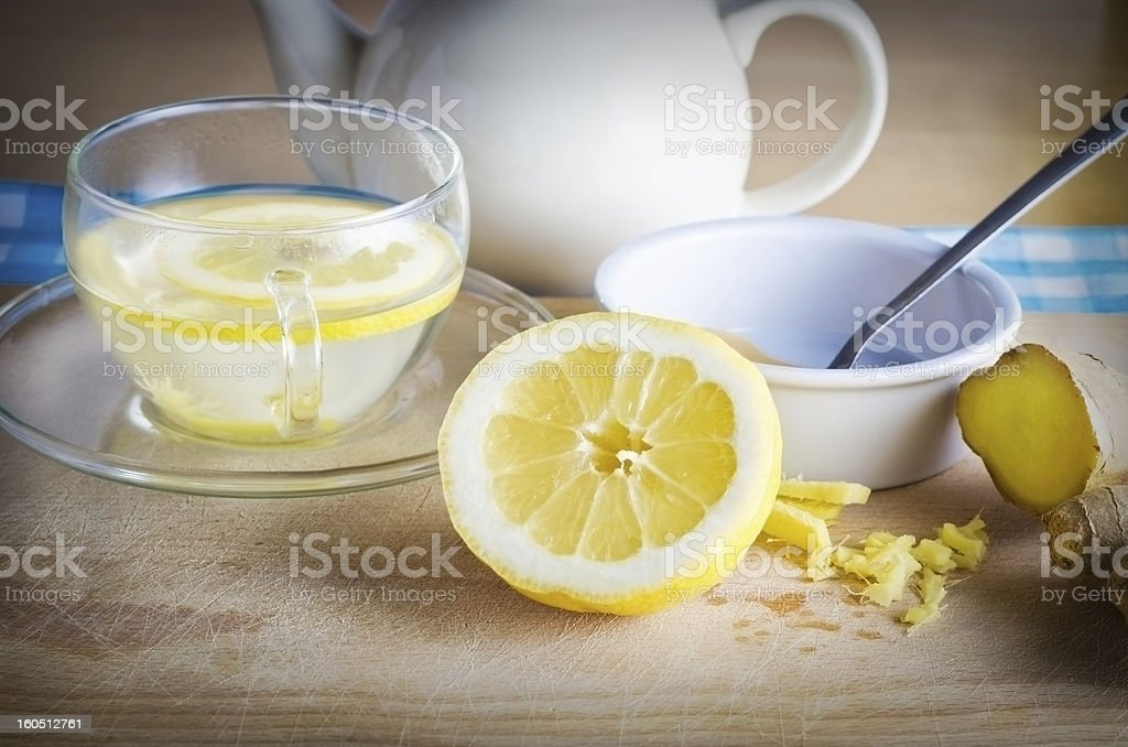 Lemon Honey and Ginger Drink stock photo