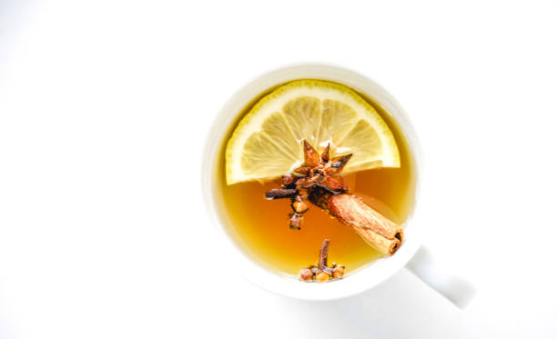 Lemon honey spice tea stock photo